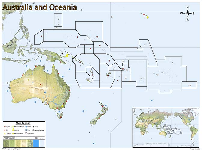 Young Australia Map.Australia Oceania Pin Map