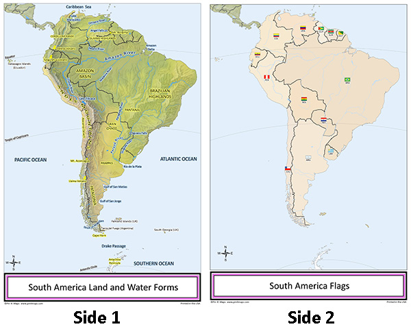 South America Pin Map on